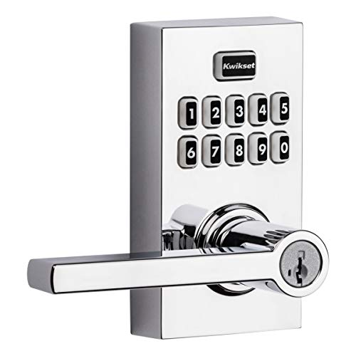 Kwikset 99170-005 SmartCode 917 Keyless Entry Contemporary Residential Keypad Electronic Lever Lock Deadbolt Alternative with Halifax Door Handle and SmartKey Security, Polished Chrome