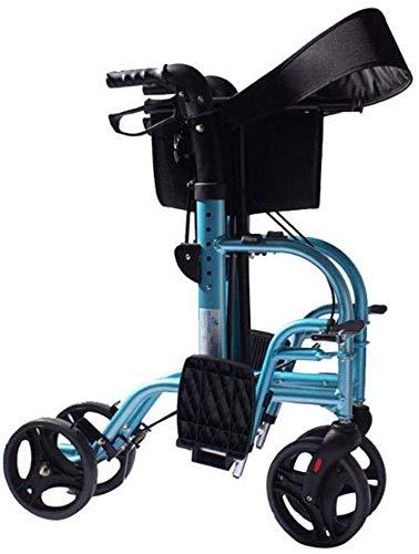 Dljyy 2 in 1 Rollator Walking Frame met voetsteunen Lichtgewicht Aluminium Ouderen Walker Folding Transfer Rolstoel fg