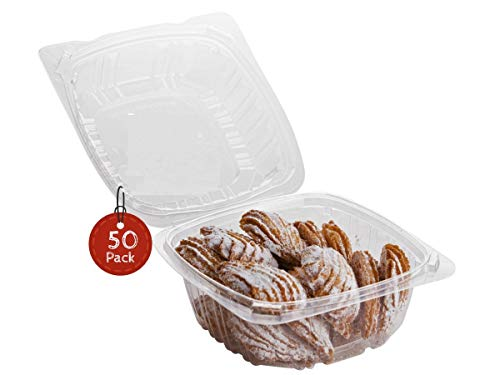 Smygoods Dessert Containers Disposable Plastic Clamshell Food Containers Clear Hinged Food Container 6 x 6 x 3 50 Pack