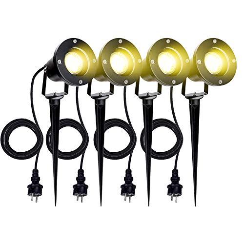 VINGO 4 Stück Gartenstrahler mit Erdspieß, 4w GU10 LED Warmweiß Gartenbeleuchtung mit Stecker, IP65 Wasserdicht Aussen-Leuchte für Terrassen Balkone Rasen Gärten