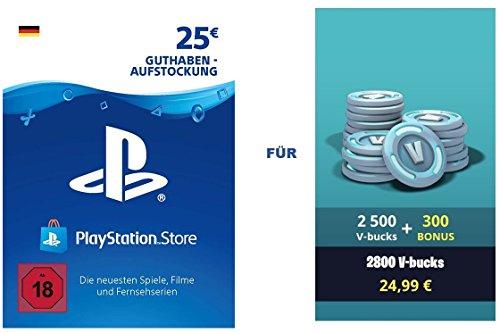 PSN Guthaben für Fortnite - 2.500 V-Bucks + 300 extra V-Bucks - 2.800 V-Bucks DLC | PS4 Download Code - deutsches Konto