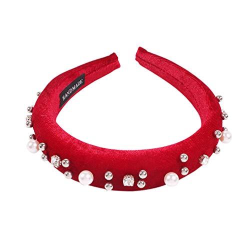 Minkissy 1 stück Strass Haarband künstlichen Breiten Rand Party Headwear Foto Requisiten Perle Kopfschmuck haarbänder für Party abschluss kostüm