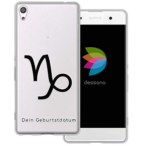 dessana sterrenbeeld met datum transparante silicone TPU beschermhoes 0,7 mm dunne mobiele telefoon soft case cover tas voor Sony, Sony Xperia XA, Steenbok verjaardag
