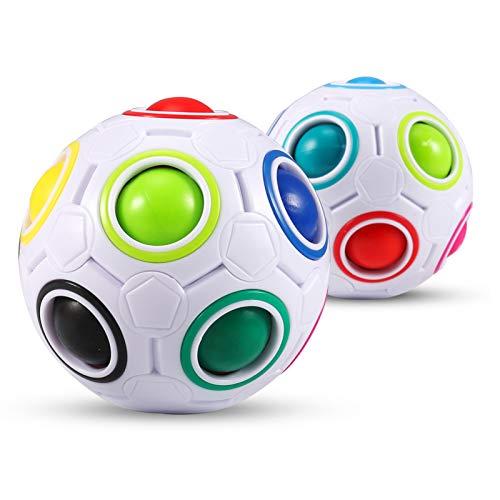 KNMY Puzzle de Bola de Arco Iris Mágico Coincidencia de Colores 3D Cube Fidget Puzzle Juguete Juego de Rompecabezas para Niños Adultos (Set de 2)