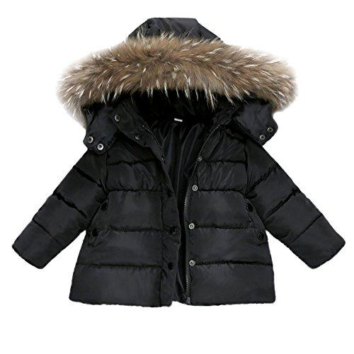 FeiliandaJJ Baby Mantel,Infant Toddler Mädchen Junge Winter Daunenjacke Kapuzenjacke Outwear Kinder Pelzkragen mit Reißverschluss Coat Warme Kleidung (90 (12~18Monate), Schwarz)