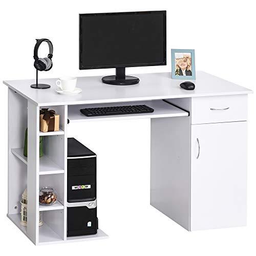 HOMCOM Mesa Escritorio para PC Mesa de Ordenador con Estantes Abiertos y baldas Ajustables Armario Soporte para CPU y Bandeja Extraíble 120x60x74 cm Blanco