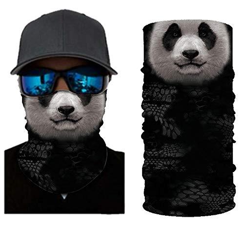 Seamless Rave Face Mask Bandana for Women/Men/Kids,Multifunction Neck Gaiter Tube Bandana,Motorcycle Face Bandana Scraf (Panda)