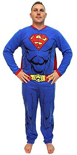 DC Comics Superman Muscle Adult Costume Union Suit with Cape (Medium) Blue