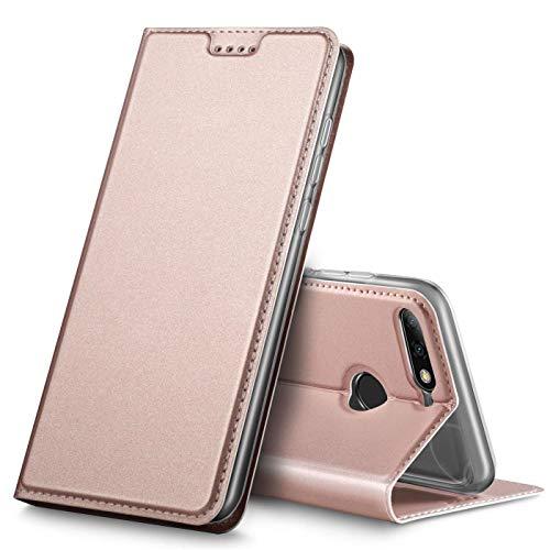 Verco Handyhülle für Y7 2018, Premium Handy Flip Cover für Huawei Y7 2018 Hülle [integr. Magnet] Book Hülle PU Leder Tasche [Honor 7C/Y7 Prime 2018/Y7 Pro 2018], Rosegold