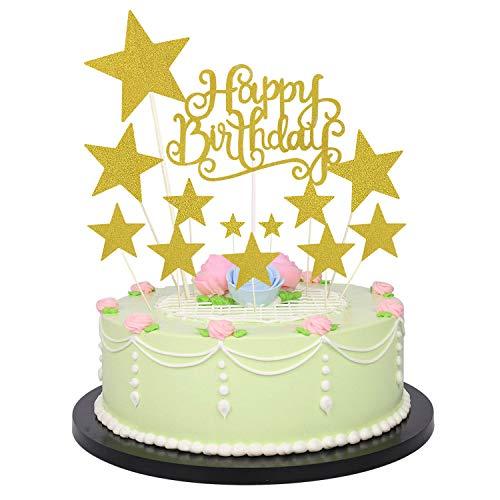 Allazone Decoraciones para Tarta, 1 Pz Oro Happy Birthday y 12 Pz Doradas Estrellas, Happy Birthday Topper Decoración para Cumpleaños Baby Shower Fiesta Temática