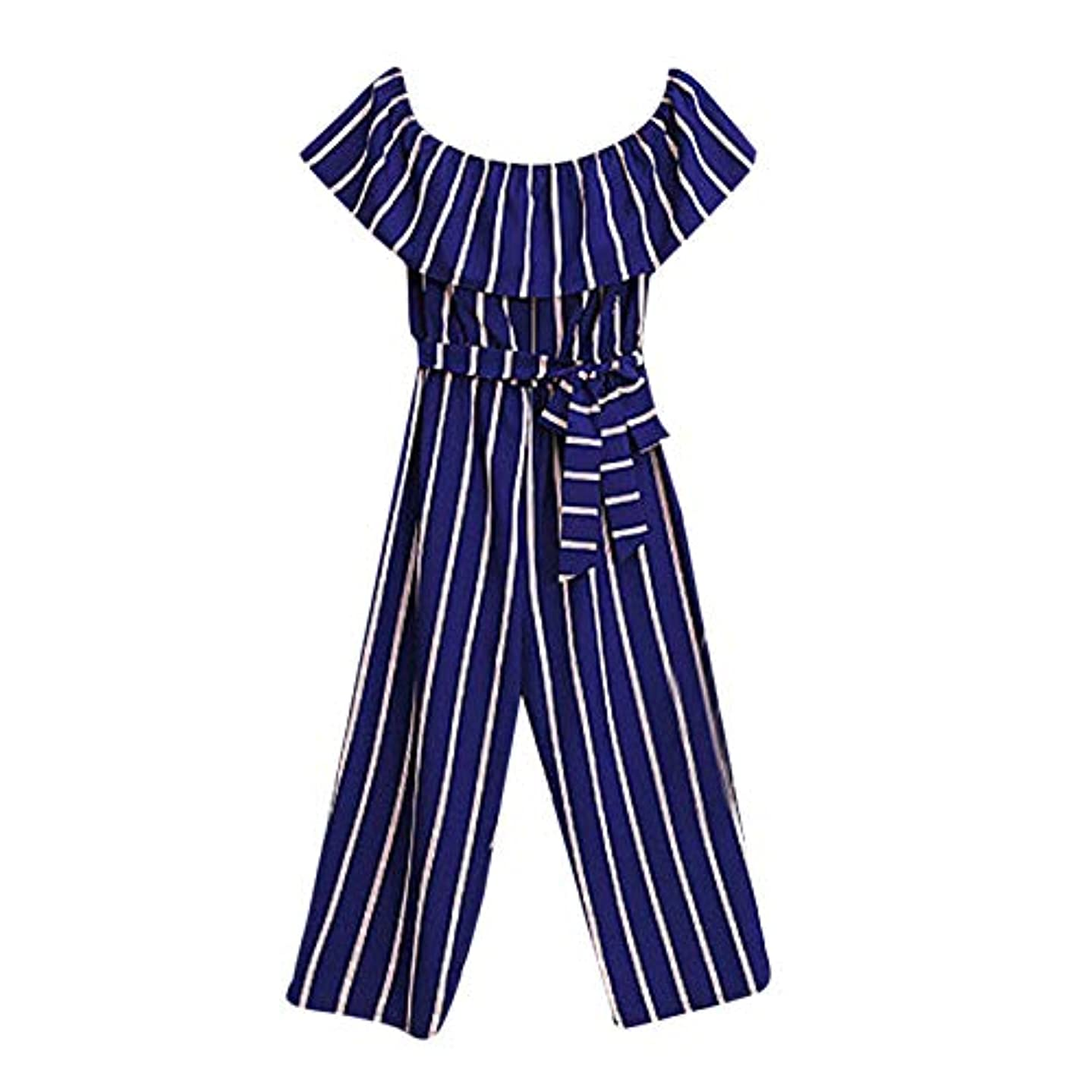 QBQCBB Mommy&Me Family Women Ruffled Off Shoulder Striped Print One-Piece Jumpsuit