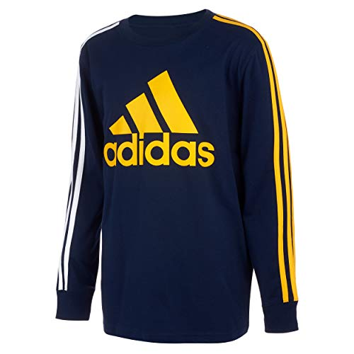 adidas Boys' Long Sleeve Cotton Jersey Logo T-Shirt, BoS Stripe Navy/Gold, 5