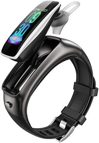 Smart Watch 0 96 pulgadas pantalla a color Bluetooth música auriculares dos en uno deportes podómetro llamada pulsera para Android e iOS blanco