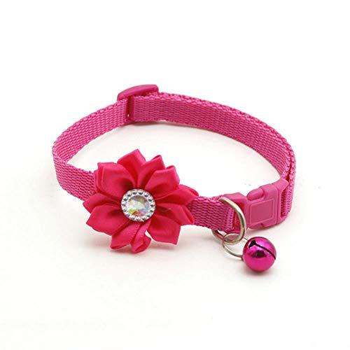 QWERTYU Haustier Hundehalsband Bell Flower Halskette Halsband für kleine Hund Welpen Schnalle Katzenhalsband Bell Flower Haustierzubehör, Rose Red, S.
