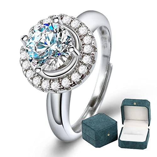 Anillo de compromiso de plata de ley 925 para mujer Halo de diamante brillante que rodea 1 quilate Anillo de diamante Moissanite Promesa de boda Joyas Caja de anillo de lujo