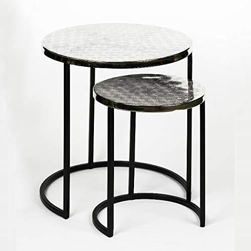 Lambert - Beistelltisch, Sofatisch, Tisch - Stahl - schwarz - vernickelt - 2 er Set