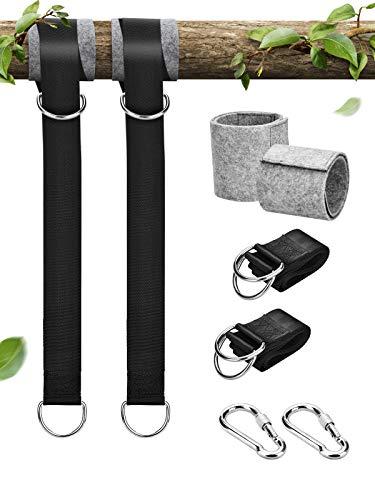 Bluefire Schaukel Befestigung, Hängematte Befestigung Swing Hanging Gurt Kit 2 Baumschutz Polster und 2 Premium Karabinern, für Schaukel Garten und Hängematten (1.5 M)