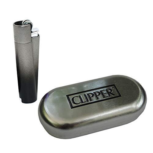 Clipper Metall Gas-Feuerzeug (anthrazit, Black Gradient) mit SOFORTGRAVUR +VORSCHAU: Gravur inklusive (Gasfeuerzeug, nachfüllbar)