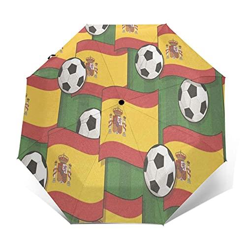 DXZ-Design Paraguas Plegable Compacto de Viaje, Sol, Lluvia, a Prueba de Viento, niños, Mujeres, Hombres, España, patrón de fútbol