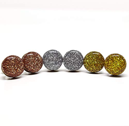 Candi Cove Designsset Of 3 Stud Earrings Gold Sparkle Silver Sparkle Rose Gold Sparkle 10 Mm Handmade Stainless Steel Posts For Sensitive Ears Dailymail