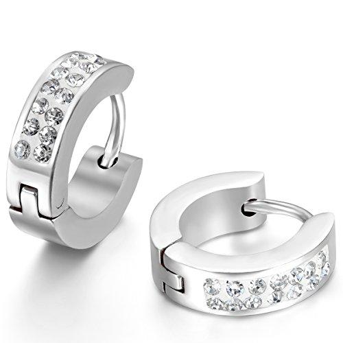 Jewelrywe Joyería Pendientes Hombres Donna, pendientes del aro, de acero inoxidable y...