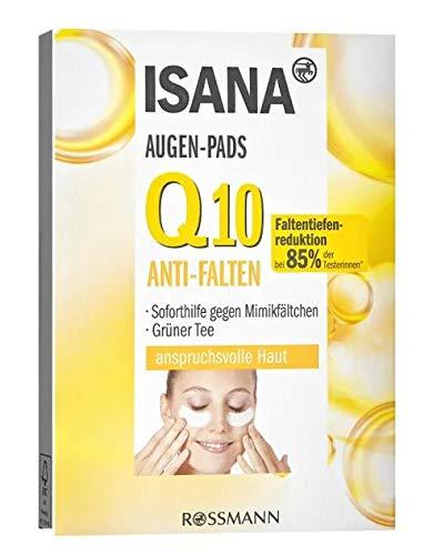ISANA Q10 Augenkonturenpads 1 Packung mit 6x2 Pads für anspruchsvolle Haut, soforthilfe gegen Mimikfältchen, reduziert die Faltentiefe nachweislich*, vitalisierend, Q10 & grünerTee-Extrakt