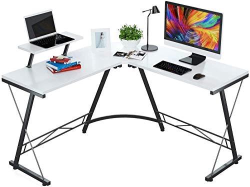 En forma de Escritorio Escritorio de Ministerio del Interior con la esquina redonda moderna robusto ordenador de escritorio con monitor de gran tamaño del estante de la estación de trabajo, dormitorio