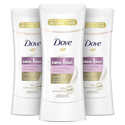 Dove Even Tone Antiperspirant Deodorant for Uneven Skin Tone Rejuvenating Blossom Sweat Block for All-Day Fresh Feeling, 2.6 oz, Pack of 3