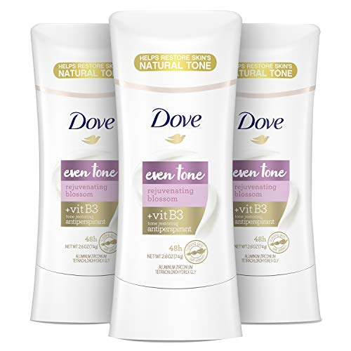 Dove Even Tone Antiperspirant Deodorant for Uneven Skin Tone Rejuvenating Blossom Sweat Block for All-Day Fresh Feeling, 2.6 oz, Pack of 3