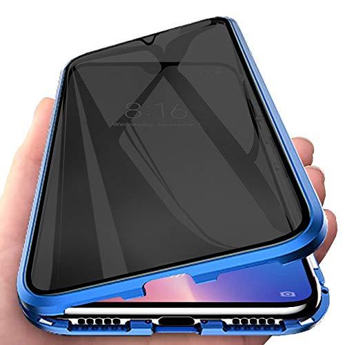 Orgstyle Funda para Samsung Galaxy S21+ 5G, [Anti-Spy] Magnética Cubierta Doble Cara Vidrio Templado Case Anti Espía Privacy Cubierta Marco de Metal Protección de 360 Caso, Azul