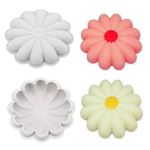 ONNPNN 2 Pieces Sunflower-shape Cake Pan, Large Sun Flower Silicone Molds, 3D Sunflower-shaped Mousse Baking Mold, Reusable Non-Stick Bread Trays for Party Kitchen Handmade Cakes