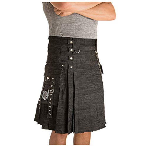 Dasongff Kilt Middellange rok traditionele kleding heren tactische cargo-kilt met zakken Cosplay Punk Gothic Traditionele Highland make-up