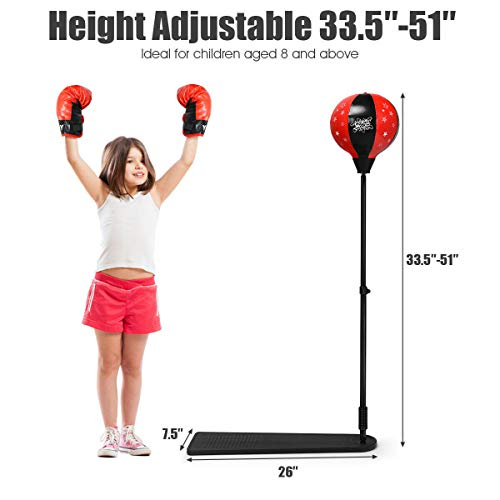 """goodyusstore, Fun for Kids, Improve Health, Kids Punching Bag with Adjustable Stand and Boxing Gloves, Children Best Gift, Freestanding Design, Safe and Non-Toxic, Different Ages Heights 33.5"""" to 51"""""""