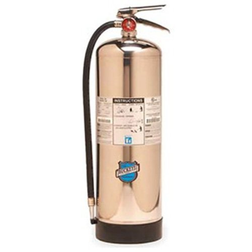 Buckeye 50000 Stainless Steel Water Pressurized Hand Held Fire Extinguisher with Wall Hook, 2.5 Gallon Agent Capacity, 7 Diameter x 9 Width x 24-1/2 Height