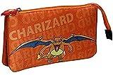 CYP BRANDS Portatodo Triple con 5 Compartimentos Pokémon, Charizard, Amarillo