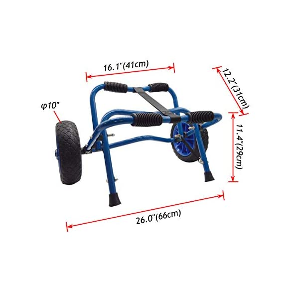 Newcod kayak cart kayak trolley carrier dolly trailer for canoe boat with no-flat airless tires wheels 3 【good quality】22x1. 5mm aluminum tube with rubber pads. 【pu wheel】with two pu solid wheels, don't need to inflate. 【capacity】this kayak cart can be loaded 165lbs.
