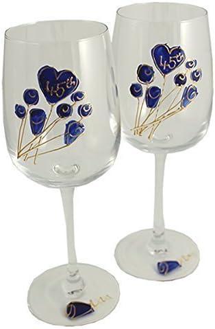 45th Wedding Sapphire Anniversary Pair Super sale Flower Ranking TOP11 of Glasses Wine