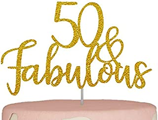 50th Birthday Cake Topper   Fifty 50 and Fabulous   Gold