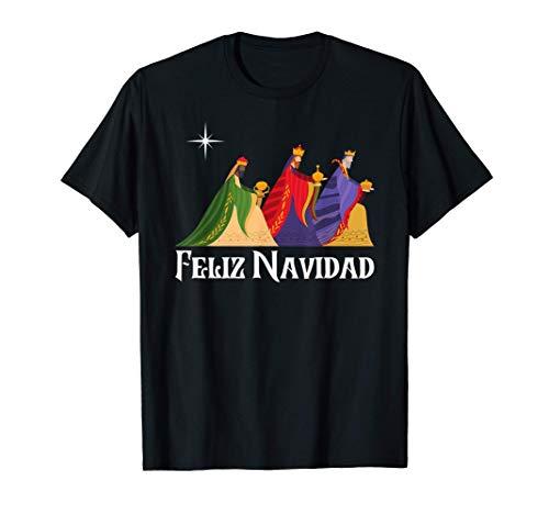 Feliz Navidad y los Tres Reyes Magos un Diseño Navideño Camiseta