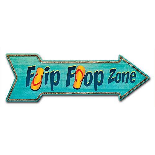 """SignMission Decal Art Flipflop Zone Decal Indoor/Outdoor Decor 24"""" Directional Sticker Vinyl Wall Decals, D-A-999866"""