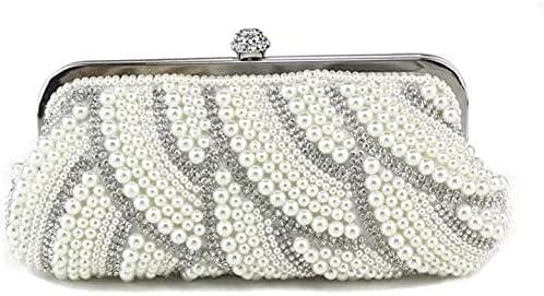 Women's Evening Handbags Embroidered Beaded Clutch Bag Classic Retro Dress Cheongsam Wedding Party (Color : White)