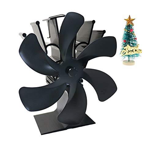 FLAMEER Ventilador de Chimenea con Motor Silencioso de Navidad Negro Grande Mejorado de 6 Aspas, Estufa de Leña