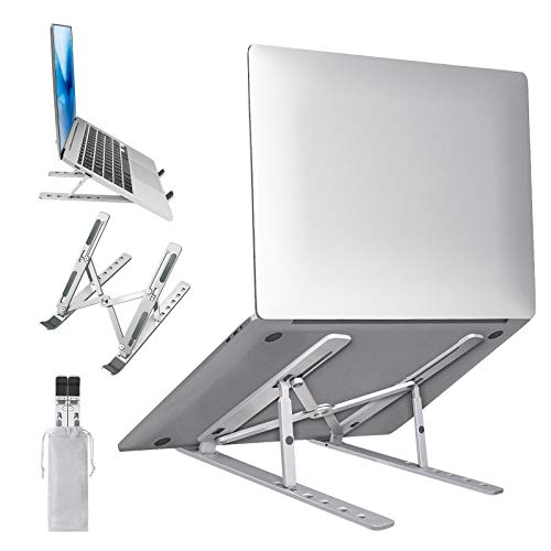 Laptop Stand, Vcertcpl Portable Laptop Stand for Desk, Aluminum Adjustable Laptop Stand with 6 Height Options, Computer Stand for Laptop Compatible with MacBook,iPad, HP, Dell, Lenovo 10-15.6' Laptops