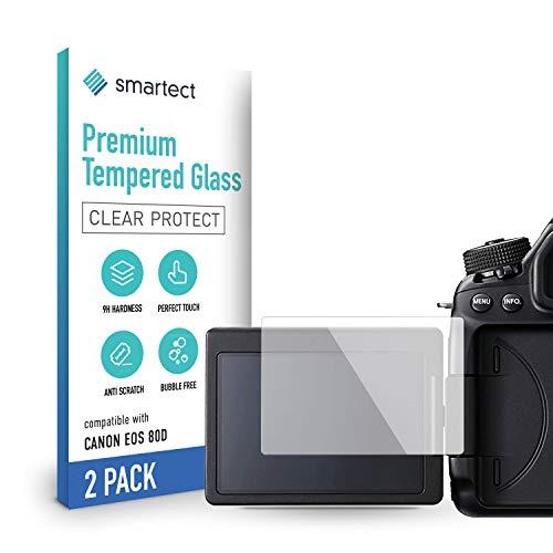 smartect Schutzglas kompatibel mit Canon EOS 80D [2 Stück] - Tempered Glass mit 9H Härte - Blasenfreie Schutzfolie - Anti-Kratzer Displayschutzfolie