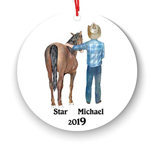 Paard en Mannelijke Paard Liefhebber Gepersonaliseerde Kerst Ornament 2019 - Man - Beroep Hobby Aangepaste Tekst Foto Naam Haarkleur Stijlen Meer dan 40