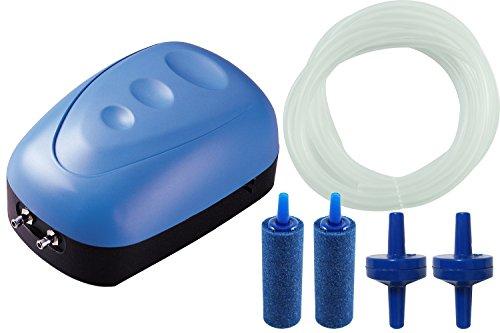 BPS BPS-6030 Luftpumpe / Kompressor mit Doppelausgang / Sauerstoffpumpe, mit Schlauch und Diffusor, 5W