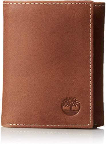 Timberland Mens Leather Trifold Wallet With ID Window, Brown (Hunter), One Size