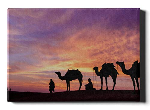 WJJSXKA DIY Wall Painting Silhouettes of Camels at Sunset Girls Canvas Prints 12 X 16 Inch(30x40cm) Wall Paintings for Women Wall Artworks Pictures Hanging in The Living Or Bedroom Home