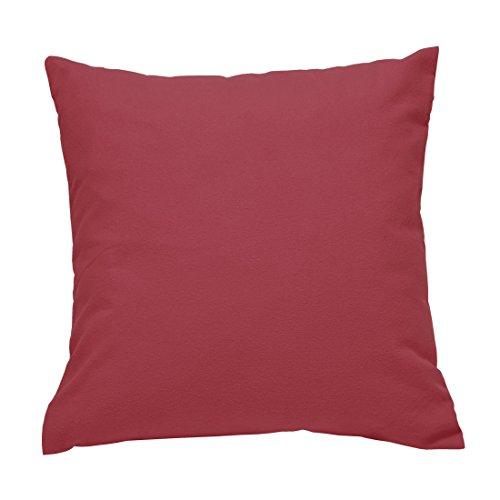 Nurtextil24 Flanell Kissenbezug in 10 Farben & 10 Größen Kissenhüllen aus 100% Baumwolle Rot 35 x 35 cm