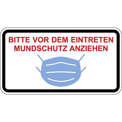 5X Bitte nur mit Mundschutz eintreten Aufkleber 30cm (Hinweiszeichen weiß)